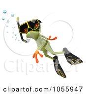 Royalty Free CGI Clip Art Illustration Of A 3d Springer Frog Snorkeling 1