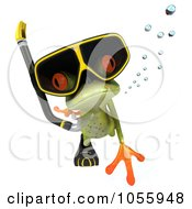 Royalty Free CGI Clip Art Illustration Of A 3d Springer Frog Snorkeling 2