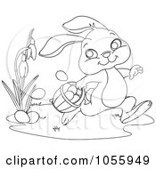 Coloring Page Outline Of A Cute Easter Bunny Dropping Eggs