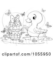 Royalty Free Vector Clip Art Illustration Of A Coloring Page Outline Of A Cute Duckling By An Easter Basket by Pushkin