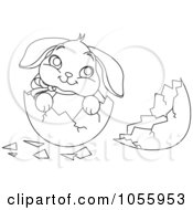 Coloring Page Outline Of A Cute Easter Bunny In A Broken Egg Shell