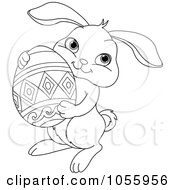 Coloring Page Outline Of A Cute Easter Bunny Holding An Egg