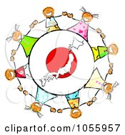 Royalty Free Clip Art Illustration Of A Circle Of Japanese Kids Around A Japan Globe by MacX