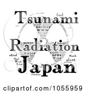 Royalty Free Clip Art Illustration Of A Black And White Tsunami Radiation Japan Word Collage by MacX
