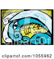 Royalty Free Vector Clip Art Illustration Of A Woodcut Styled Tsunami Monster Swallowing People