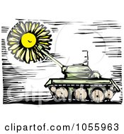 Royalty Free Vector Clip Art Illustration Of A Woodcut Styled Military Tank And Sun