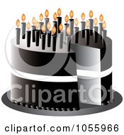 Royalty Free Vector Clip Art Illustration Of A Black Over The Hill Birthday Cake With Candles