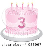 Royalty Free Vector Clip Art Illustration Of A Pink Third Birthday Cake With Candles