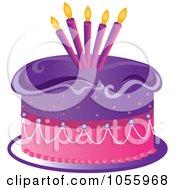 Royalty Free Vector Clip Art Illustration Of A Purple And Pink Birthday Cake With Candles by Pams Clipart