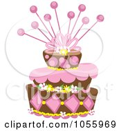 Royalty Free Vector Clip Art Illustration Of A Funky Pink And Brown Floral Cake by Pams Clipart