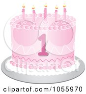 Royalty Free Vector Clip Art Illustration Of A Pink First Birthday Cake With Candles