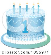 Royalty Free Vector Clip Art Illustration Of A Blue First Birthday Cake With Candles