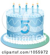 Royalty Free Vector Clip Art Illustration Of A Blue Fifth Birthday Cake With Candles by Pams Clipart