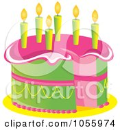 Royalty Free Vector Clip Art Illustration Of A Pink And Green Birthday Cake With Candles by Pams Clipart