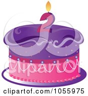 Purple And Pink Birthday Cake With A Number Two Candle