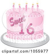 Royalty Free Vector Clip Art Illustration Of A Pink Sweet Sixteen Birthday Cake With Candles by Pams Clipart