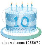 Royalty Free Vector Clip Art Illustration Of A Blue Tenth Birthday Cake With Candles