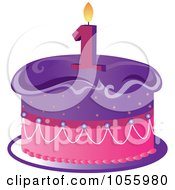 Royalty Free Vector Clip Art Illustration Of A Purple And Pink Birthday Cake With A Number One Candle