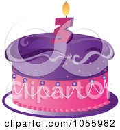 Purple And Pink Birthday Cake With A Number Three Candle