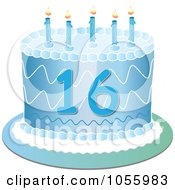 Royalty Free Vector Clip Art Illustration Of A Blue Sweet Sixteen Birthday Cake With Candles by Pams Clipart