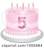Clip Art Illustration Of A Pink Birthday Cake With The Number 5