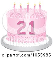 Royalty Free Vector Clip Art Illustration Of A Pink Twenty First Birthday Cake With Candles