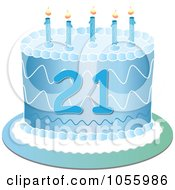 Royalty Free Vector Clip Art Illustration Of A Blue Twenty First Birthday Cake With Candles