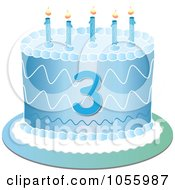 Royalty Free Vector Clip Art Illustration Of A Blue Third Birthday Cake With Candles