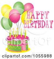 Royalty Free Vector Clip Art Illustration Of A Pink And Green Cake With Candles Party Balloons And Happy Birthday Text