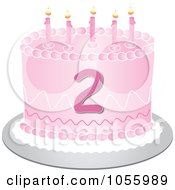 Royalty Free Vector Clip Art Illustration Of A Pink Second Birthday Cake With Candles