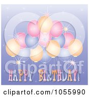 Royalty Free Vector Clip Art Illustration Of A Happy Birthday Greeting With Sparkles And Balloons On Purple