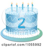 Royalty Free Vector Clip Art Illustration Of A Blue Second Birthday Cake With Candles
