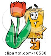 Yellow Admission Ticket Mascot Cartoon Character With A Red Tulip Flower In The Spring