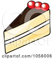 Royalty Free Vector Clip Art Illustration Of A Slice Of Boston Cream Pie by Pams Clipart