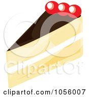 Royalty Free Vector Clip Art Illustration Of A Boston Cream Pie Slice by Pams Clipart