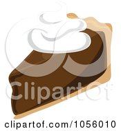Royalty Free Vector Clip Art Illustration Of A Slice Of Chocolate Cream Pie Topped With Whipped Cream by Pams Clipart
