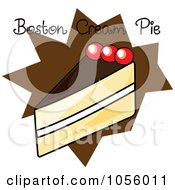 Royalty Free Vector Clip Art Illustration Of A Slice Of Boston Cream Pie With Text On A Brown Burst