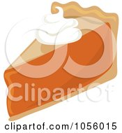 Royalty Free Vector Clip Art Illustration Of A Dollop Of Whipped Cream On A Slice Of Pumpkin Pie by Pams Clipart