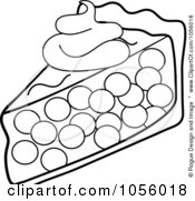 Royalty Free Vector Clip Art Illustration Of An Outline Of A Slice Of Cherry Pie Topped With A Dollop Of Whipped Cream by Pams Clipart