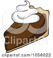 Royalty Free Vector Clip Art Illustration Of A Slice Of Chocolate Cream Pie With Whipped Cream by Pams Clipart