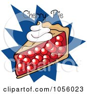 Royalty Free Vector Clip Art Illustration Of A Slice Of Cherry Pie With Text On A Blue Burst by Pams Clipart