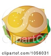 Royalty Free Vector Clip Art Illustration Of A Top View Of A Cheeseburger by Pams Clipart