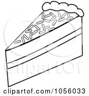 Royalty Free Vector Clip Art Illustration Of An Outline Of A Slice Of Chocolate Layer Cake by Pams Clipart