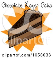 Royalty Free Vector Clip Art Illustration Of A Slice Of Chocolate Layer Cake With Text And An Orange Burst by Pams Clipart