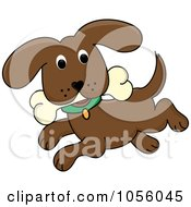Royalty Free Vector Clip Art Illustration Of A Brown Dog Running With A Bone by Pams Clipart