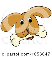 Royalty Free Vector Clip Art Illustration Of A Yellow Puppy Face With A Bone by Pams Clipart