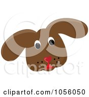 Royalty Free Vector Clip Art Illustration Of A Brown Puppy Face by Pams Clipart