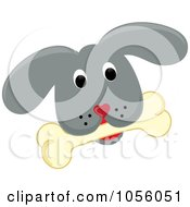 Royalty Free Vector Clip Art Illustration Of A Gray Puppy Face With A Bone by Pams Clipart