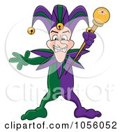 Royalty Free Vector Clip Art Illustration Of A Mardi Gras Jester Holding A Wand by Pams Clipart