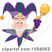 Royalty Free Vector Clip Art Illustration Of A Grinning Mardi Gras Jester Holding A Wand